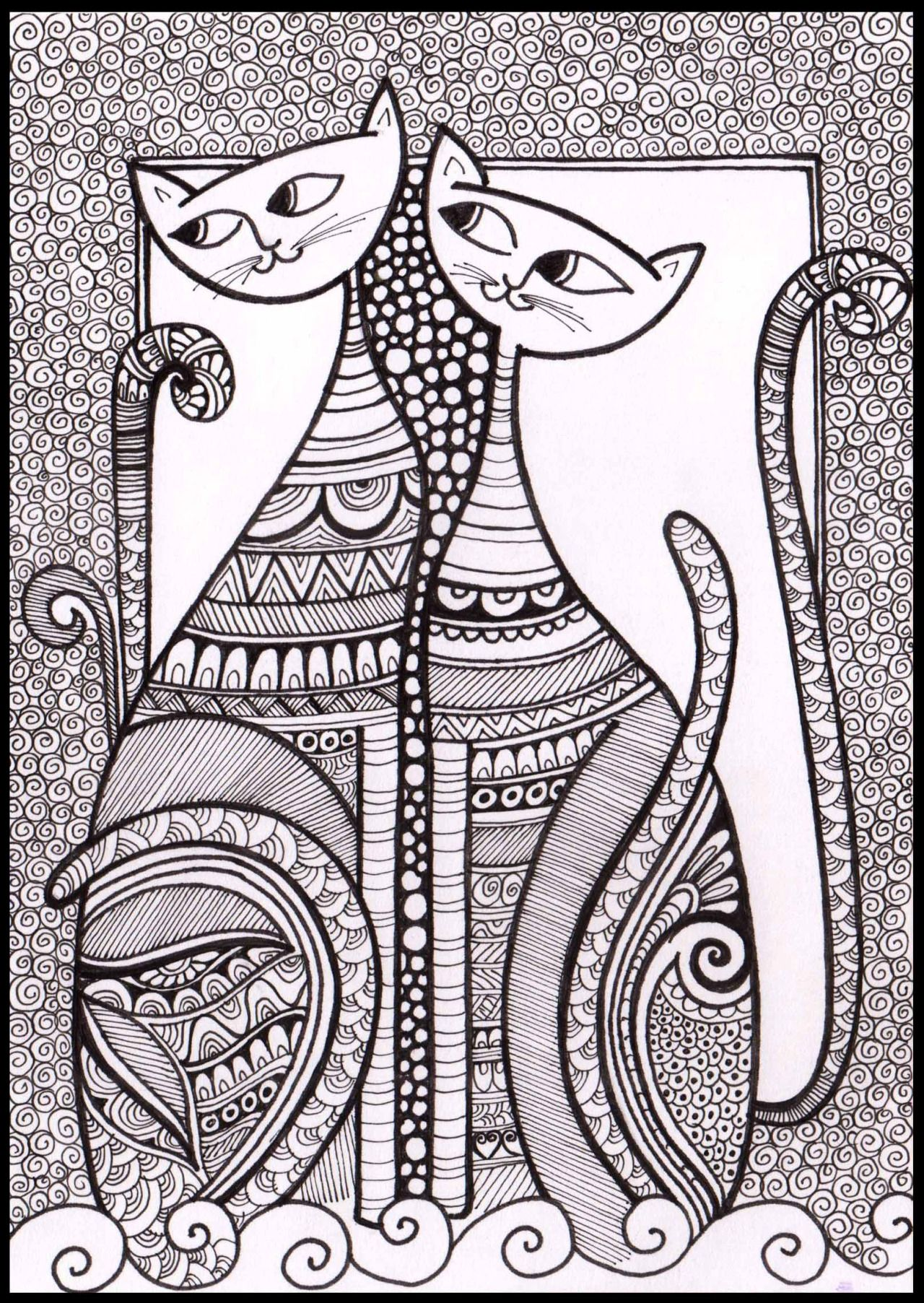 Cats_02 for Zentangle Card series ( Doodle, Illustration, Line ...