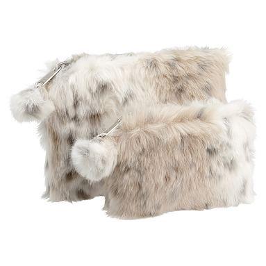 af45177b4f23 Faux Fur Snow Leopard Beauty Pouches