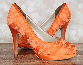 53ce706bd320 Custom Wedding Shoes -- Orange Platform Closed Toe Wedding Shoes with Lace  Overlay