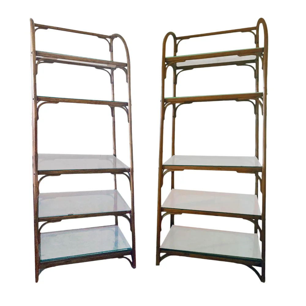 Vintage Chippendale Style 5 Tier Bentwood Rattan Etageres - a Pair | Chairish