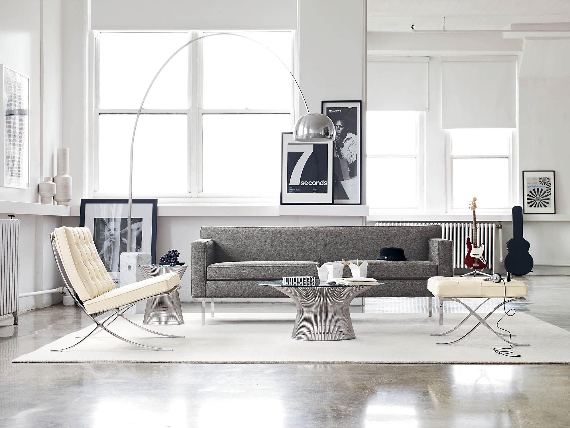 Living Room With Barcelona Chair (by Mies Van Der Rohe)