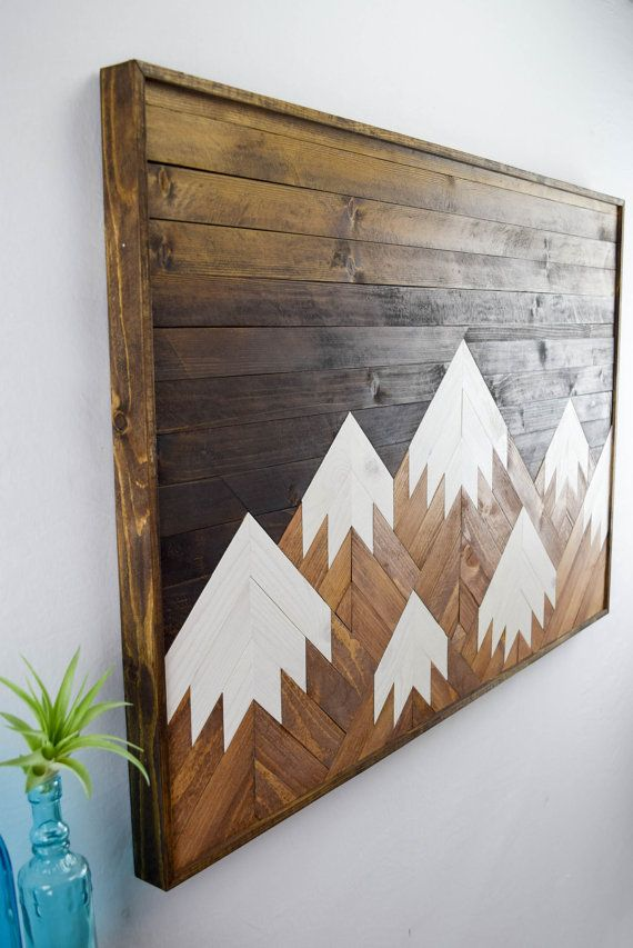 Wood wall art modern mountain range wood door for Diy mountain mural