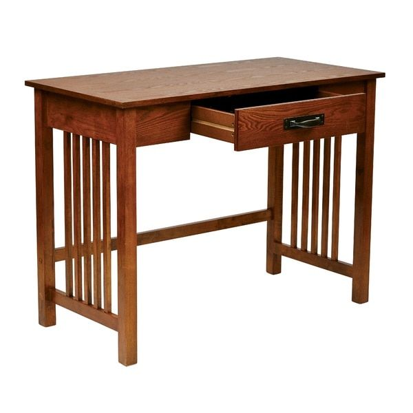 Osp Home Furnishings Mission Desk In Ash Oak Finish With Pull Out Drawer Solid Wood Legs Mission Style Desk Solid Wood Writing Desk Writing Desk With Drawers