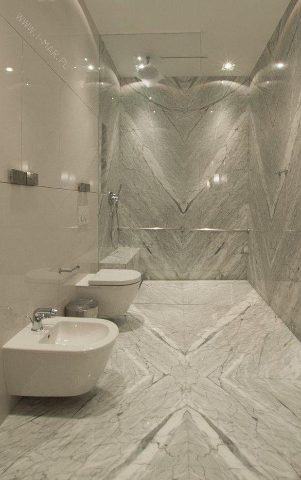 Piękna Kamienna łazienka Wykonana Z Szarego Marmuru