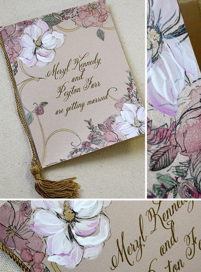 Claire Pettibone Fl Inspired Magnolia Hand Painted Save The Date Booklet Momental Designs Unique Handmade Wedding Invitations Custom By