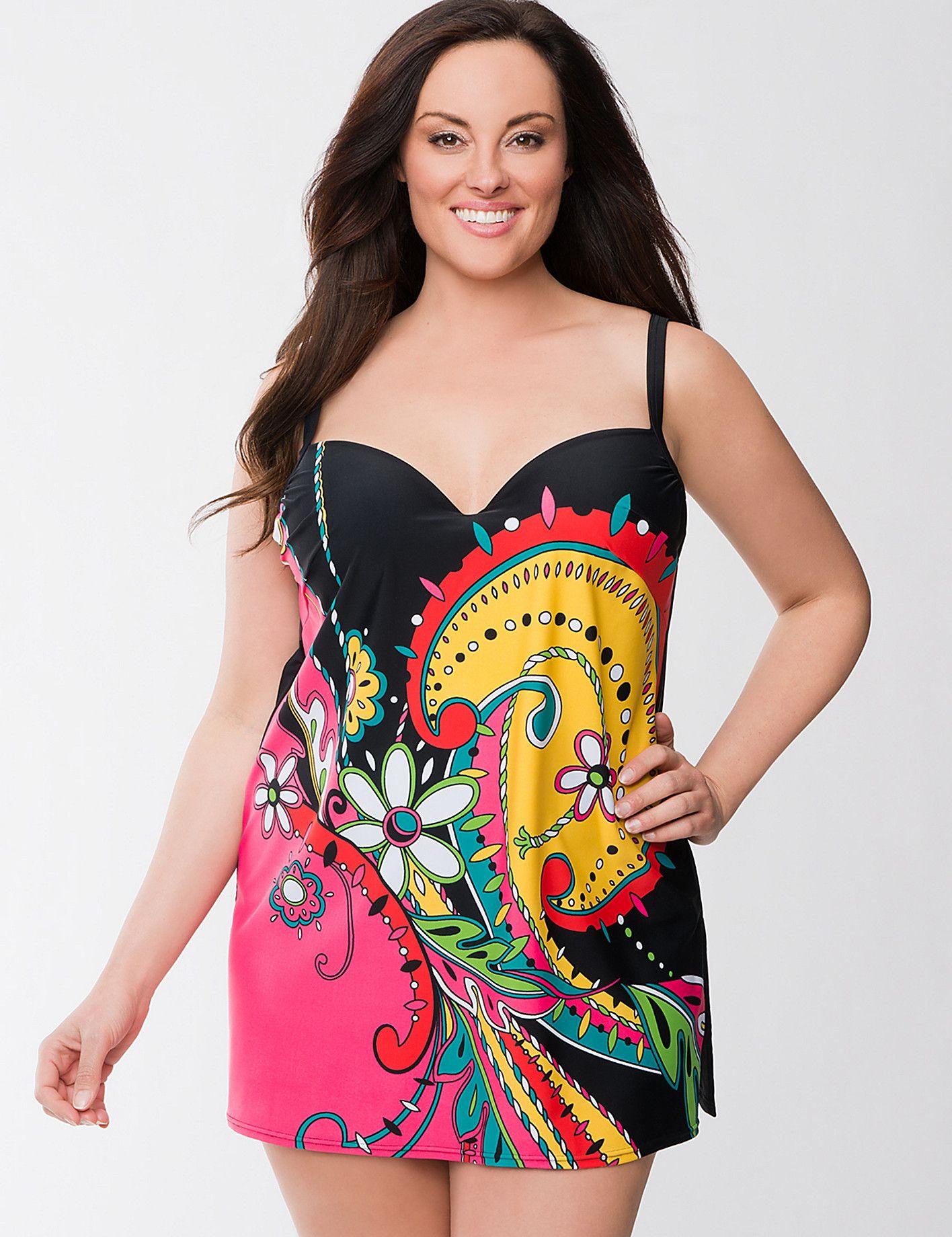 Swirl Print Swim Dress With Built In Bra Plus Size Fashion Fashion Clothes Women Swim Dress [ 1840 x 1416 Pixel ]