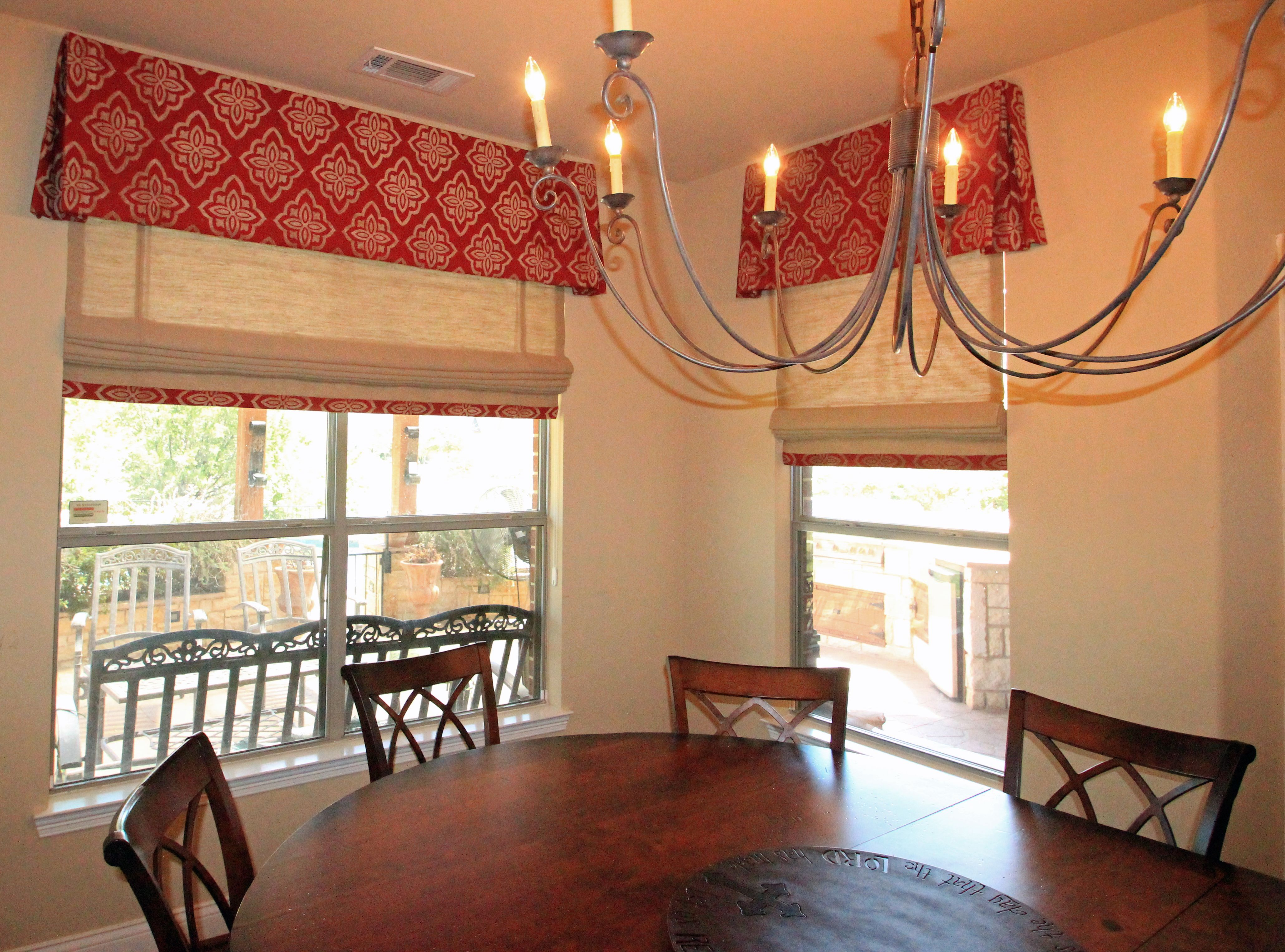 Breakfast Room Valances And Burlap Roman Shades  Dorothy Greenlee Stunning Dining Room Valances Inspiration Design