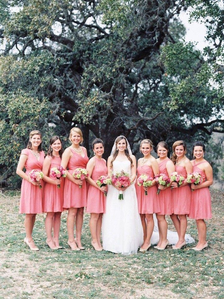 Coral bridesmaid dresses idea; photo: Michelle Boyd