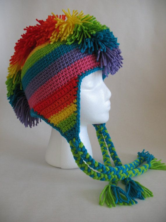 Rainbow Mohawk Hat Pdf Crochet Pattern Mohawks Pdf And Rainbows
