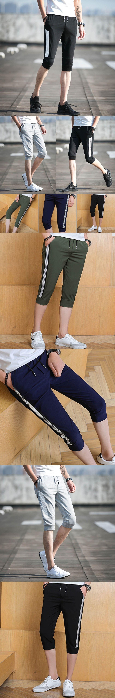 AOMU Summer Cotton Pant Men Fashion Brand Male Casual Bermuda Masculina Comfortable Cool Short Capris Slim Pants