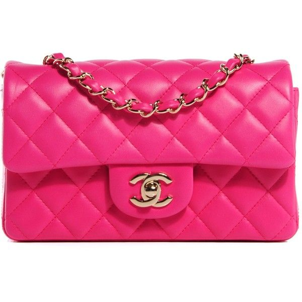 02e46ccd86b0 CHANEL Lambskin Quilted Rectangular Mini Flap Dark Pink ❤ liked on Polyvore  featuring bags, handbags, shoulder bags, pink handbags, quilted crossbody,  ...