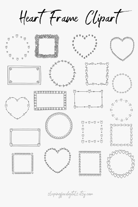 Doodle Clipart Frames Hand Drawn Clip Art Line Borders Etsy Clip Art Frame Clipart Doodle Frames