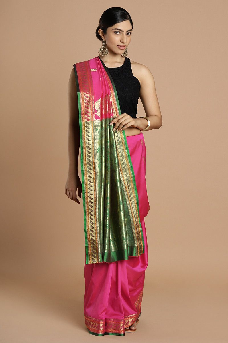 7497d409ffab33 Pink Color Silk Blend Zari Work Designer Saree With Blouse Piece online. ✯  100%