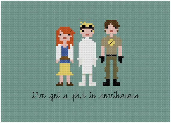 Pixel People - Dr. Horrible's Sing Along Blog - PDF Cross-stitch Pattern