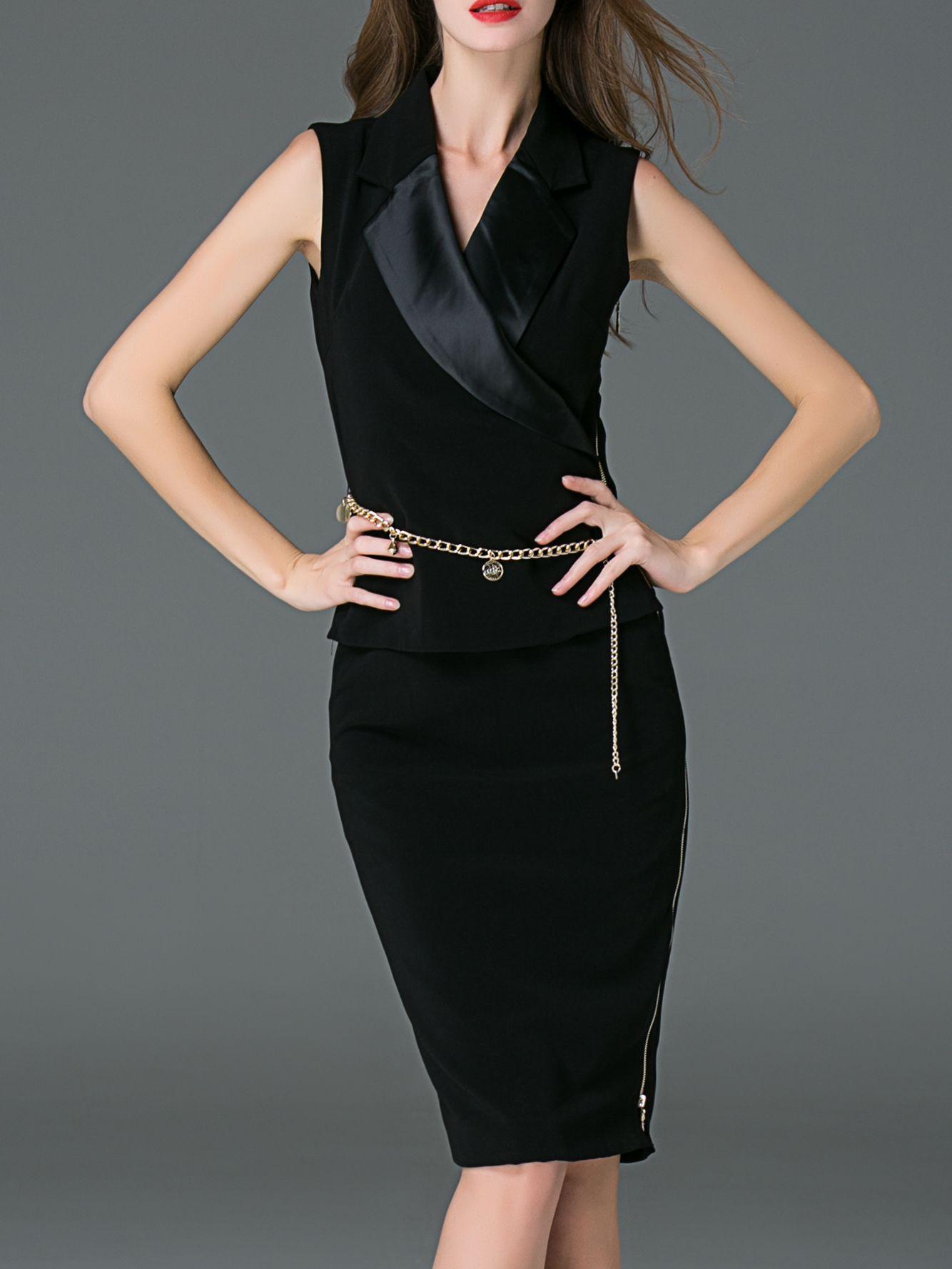 Image of black v neck zipper sheath dress clothing pinterest