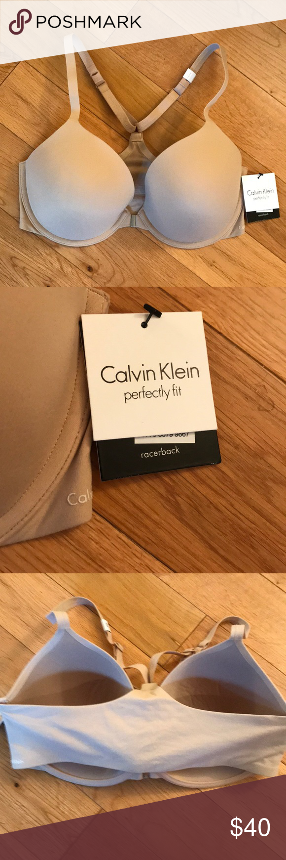 65acf893779 Calvin Klein Perfectly Fit Racerback Bra Front close light weight cups with  memory foam and racer back straps. Size 34DD NWT Calvin Klein Intimates ...
