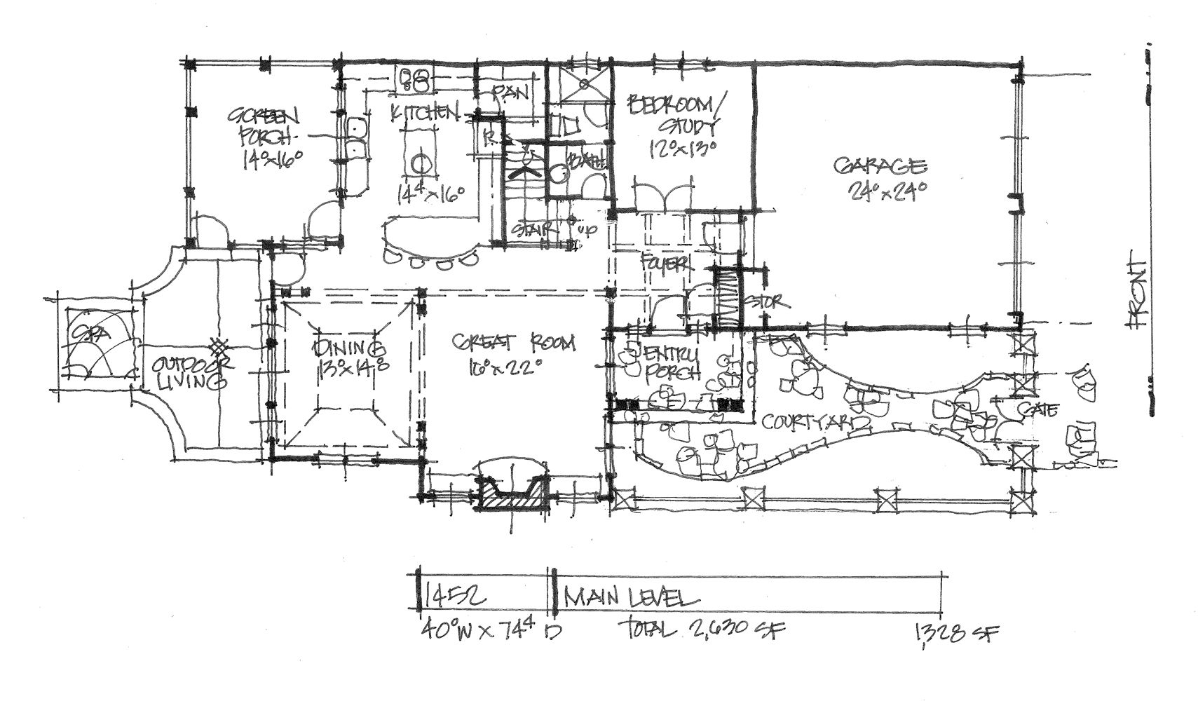 Check out the first floor plan of house plan 1452. See more details on our house plans blog! #WeDesignDreams