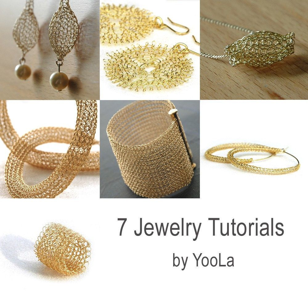 7 pdf JEWELRY wire tutorials lace ring sunflowers hoops by Yoola