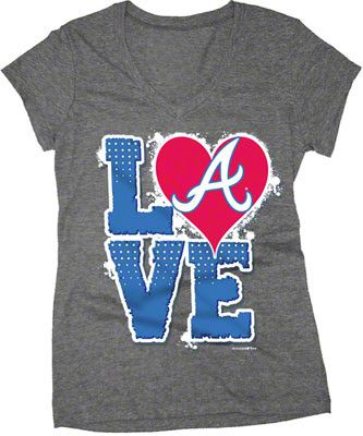 Atlanta Braves Charcoal Girls Tri-Blend V-Neck T-Shirt