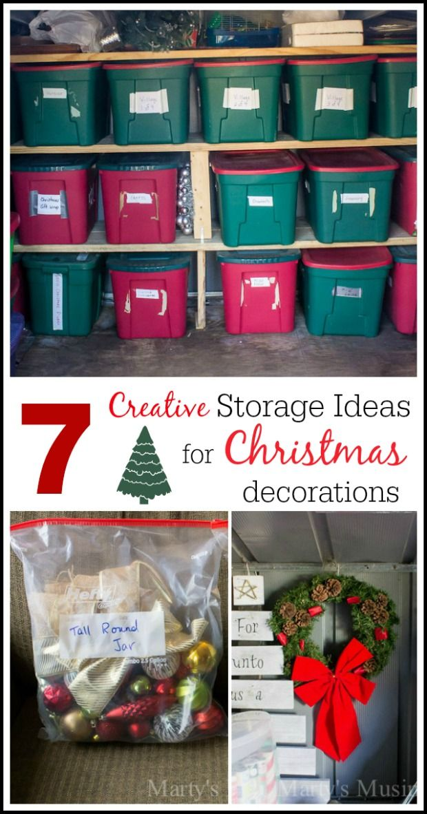 Running out of room in your closets? Blogger Marty's Musings shares 7 creative storage ideas for Christmas decorations that will get you organized in a flash! Her practical tips such as designating an area for your Christmas decor and using tubs and plastic bags for like items will inspire you to clean out the clutter for a stress free holiday!
