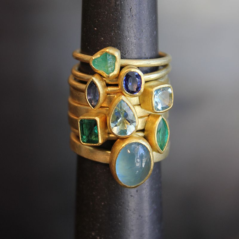 """These rings by Petra Class remind me of ancient, hand-hammered jewelry. Also similar to the Ken & Dana Tallulah ring, for that """"raw"""" aspect"""