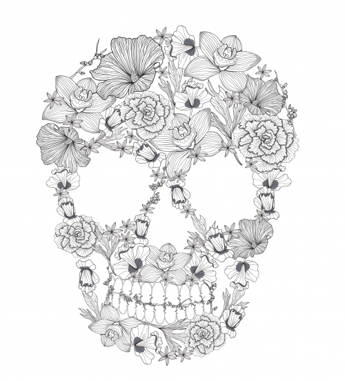 free poster with this page. click to get ****have fun with this ... - Coloring Pages Roses Skulls
