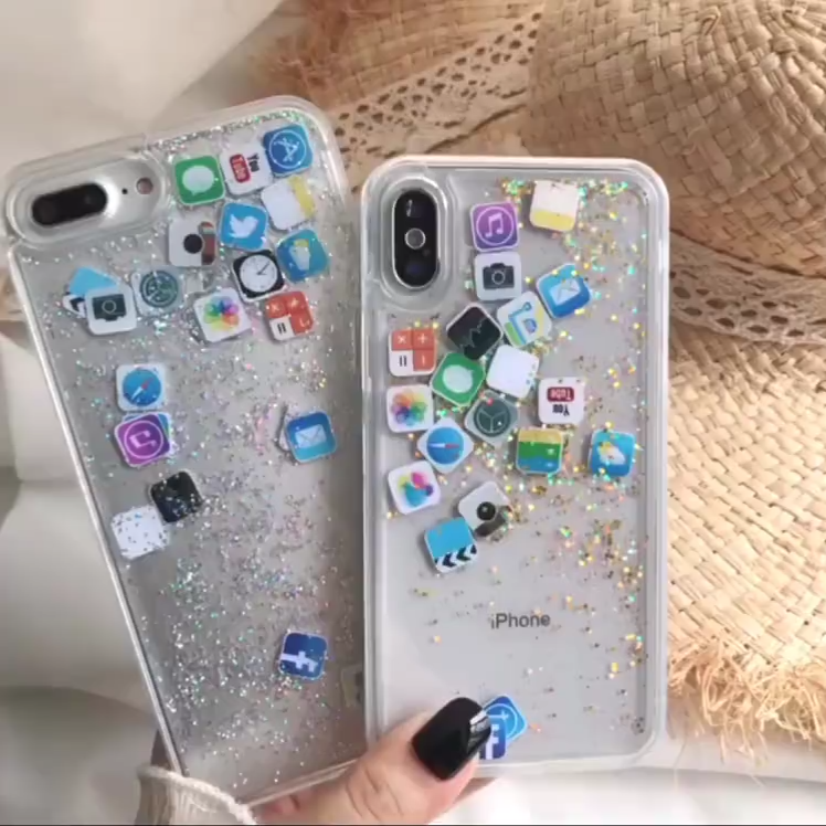 Glitter Quicksand Liquid Funny Cute Emoji Transparent iPhone Cases #phonecases #iphonecase #backcover #cute