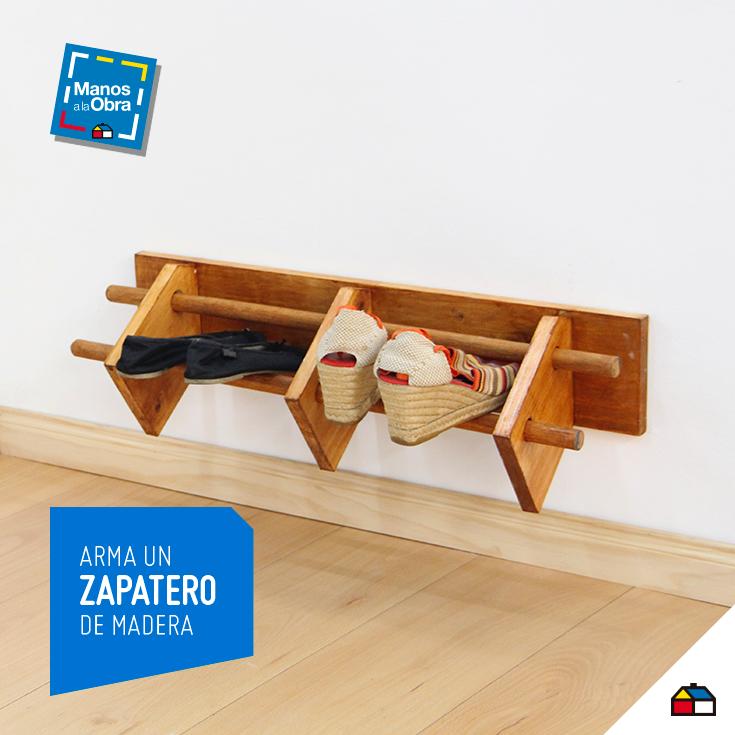 Arma un pr ctico zapatero de madera sodimac homecenter for Zapateras de madera