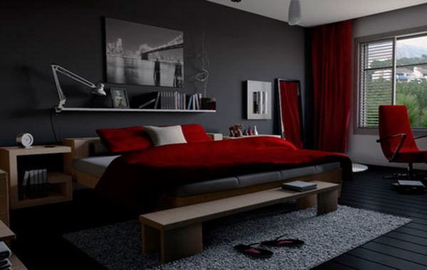 Maroon And Grey Bedroom
