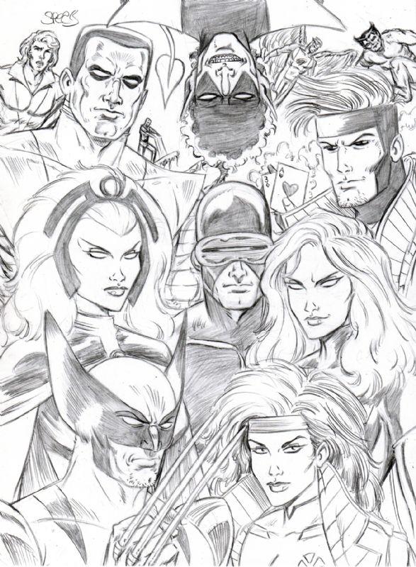 X Men Wolverine Colossus Rogue Storm Dark Phoenix Cyclops Night Crawler By Spears Comic Art Comic Art Rogues Marvel Fan Art