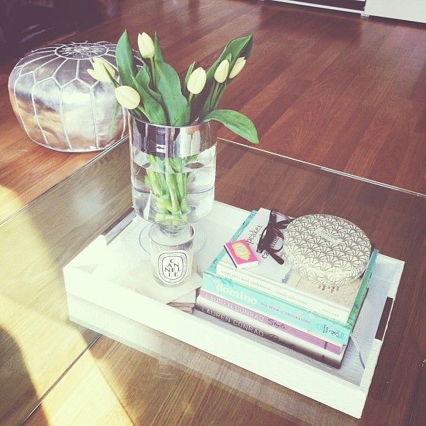 White Tray In Faux Croco On Our Coffee Table