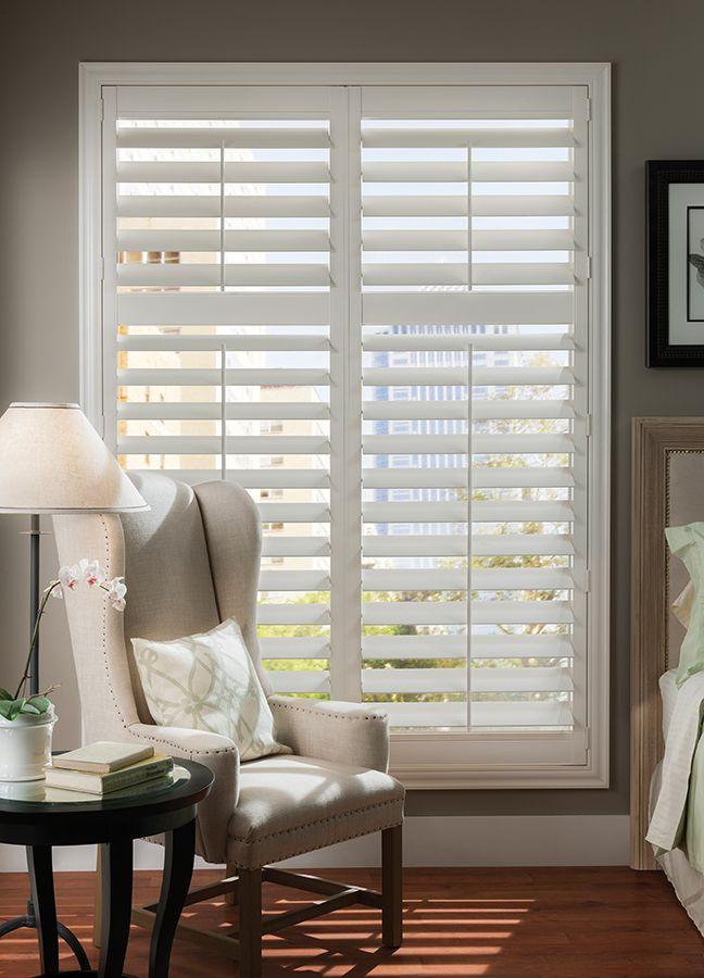 PolySatin Shutters. Hinged, Traditional Tilt Bar Operating System. Louvre  Size: 114mm