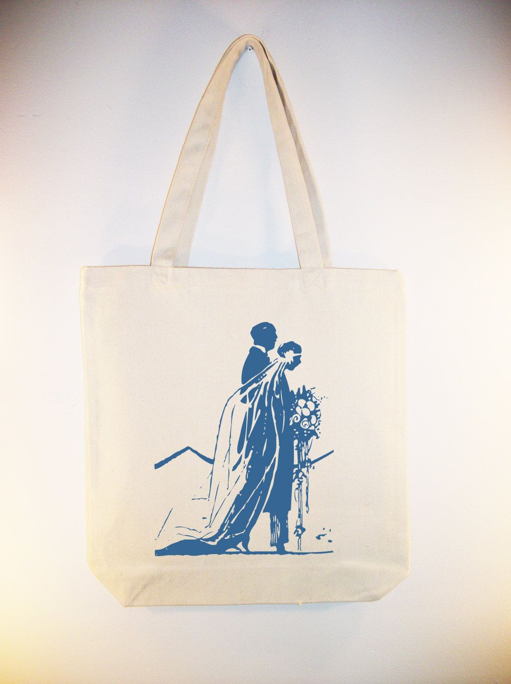 Beautiful Vintage Bride and Groom 15x15 Canvas Tote -  Larger zipper top tote and personalization available - IMAGE IN ANY COLOR