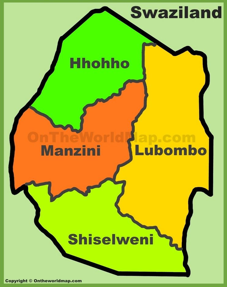 Administrative divisions map of Swaziland | Swaziland | Map, Division