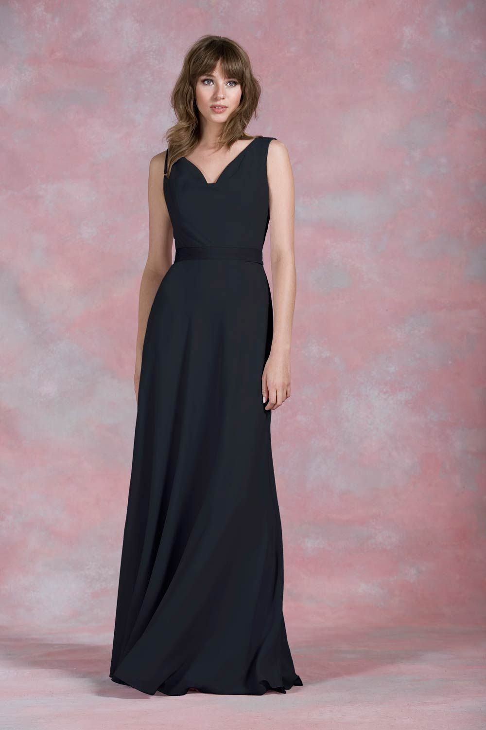 Cowl neck black bridesmaid dress from kelsey rose bridesmaids