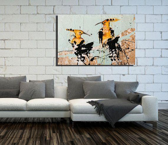 Canvas Hoopoe Print wall art Large Wall Art by NaamaSegalArt