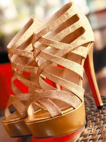 Glitter Cross Strap High Heels
