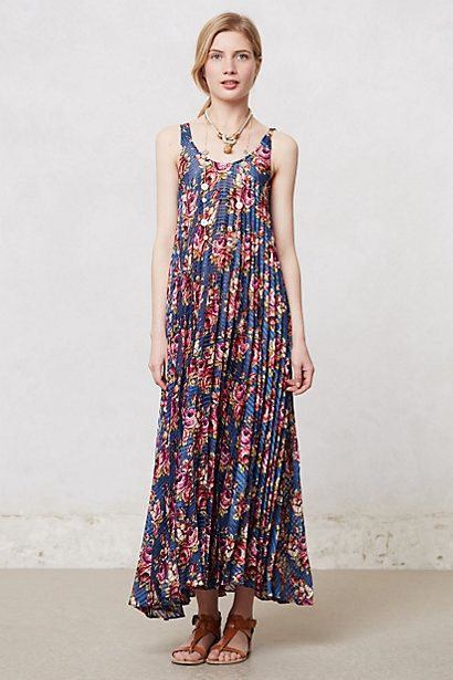 Pleated Botanical Maxi Dress