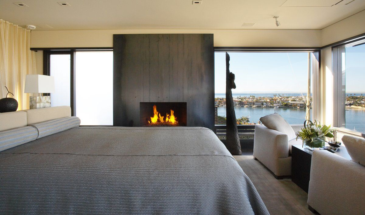 Master bedroom fireplace  Bedroom Fireplace Views Loft with Spectacular Views in Corona del