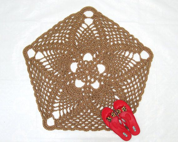 Pentagon Or 5 Sided Natural Jute Rug With A Rounded