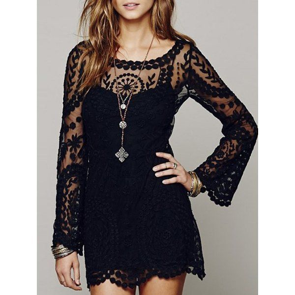 Sexy Scoop Collar Long Sleeve See-Through Solid Color Lace Women's ...