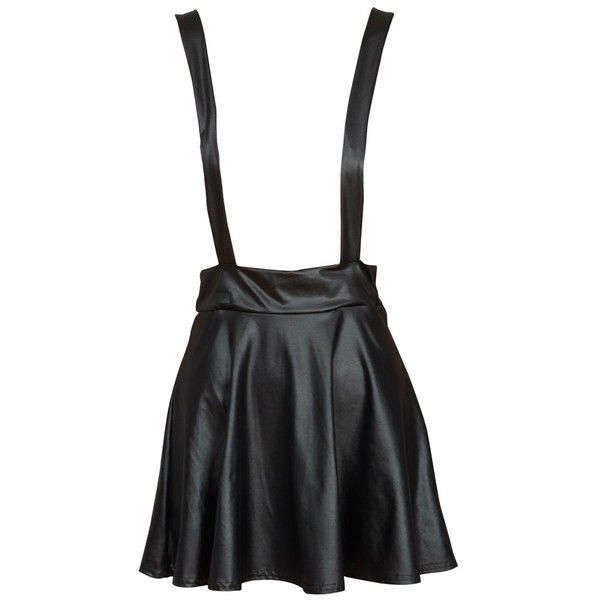 a7295221b Black Leather Look Pinafore Skirt (26 AUD) ❤ liked on Polyvore featuring  skirts, skater skirt, circle skirt, faux leather skater skirt, shiny skirt  and ...