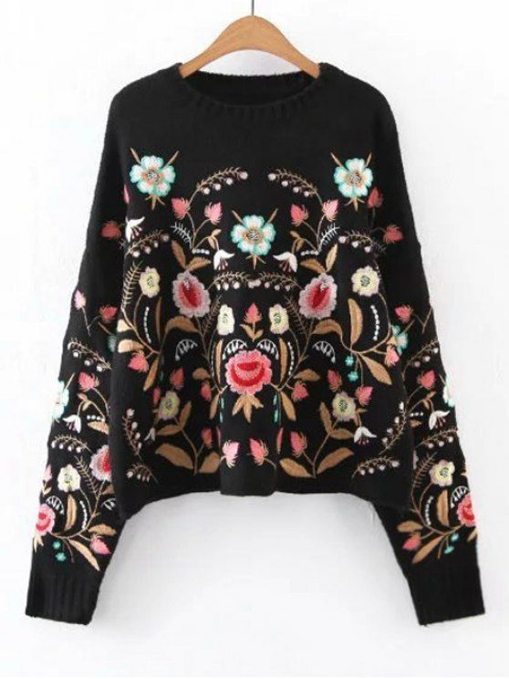 5d93ce38c9 Up to 70% OFF! Oversized Floral Embroidered Sweater. Zaful