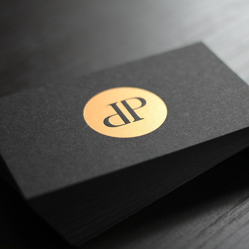 Schwarze Visitenkarten Mit Heißfolienprägung 1 Farbig