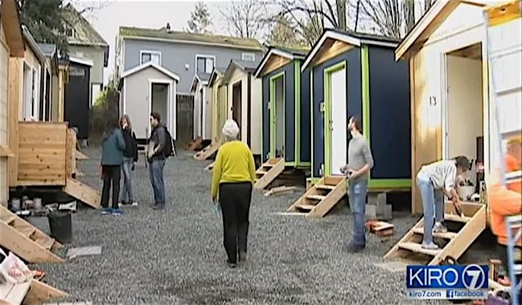 Cool Tiny House Village Opens With Electricity To Care For Seattle Homeless Good News Network Tiny House Village Tiny House Community Home