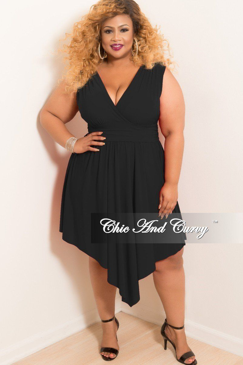 c5fb9cd44ad Final Sale Plus Size Sleeveless Faux Wrap High-Low Dress in Black in ...