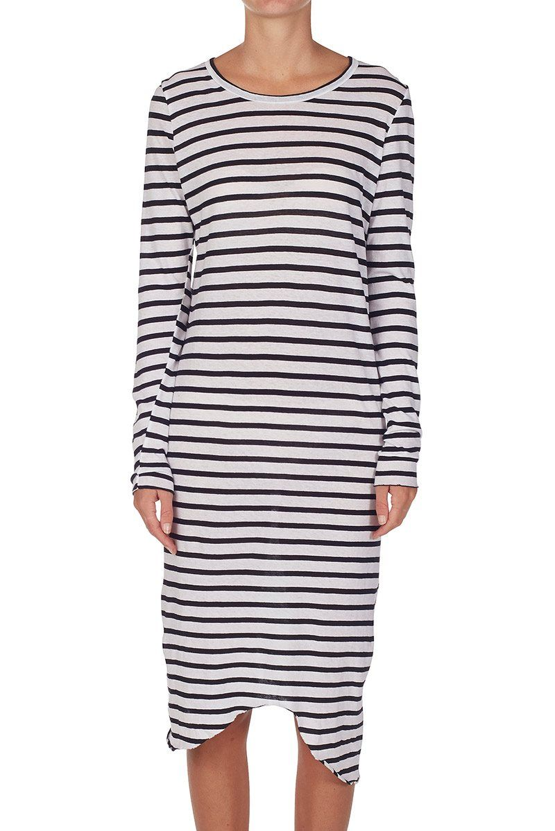 stripe long sleeve t.shirt dress black/white   bassike   Long ...