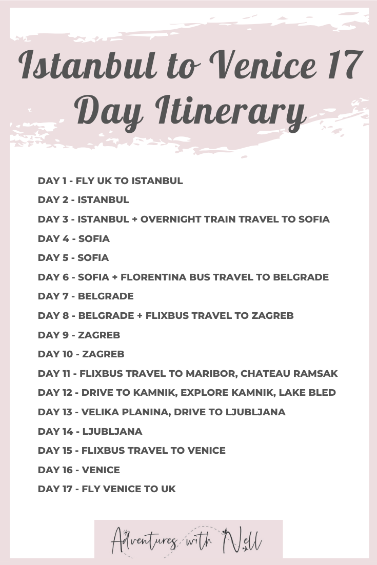 A 17 Day Itinerary Taking You From Istanbul To Venice Via The Balkans Includes Turkey Sofia Bulgaria Belgrade Serbia Za Itinerary Europe Train Istanbul