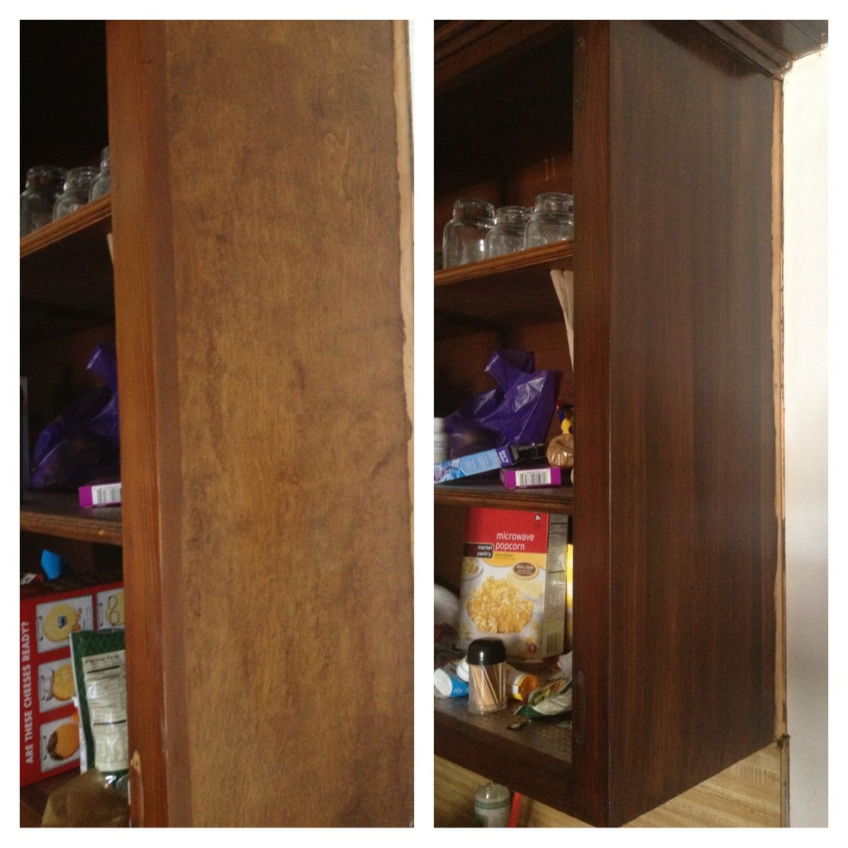 before and after using a deglosser then gel stain on the kitchen