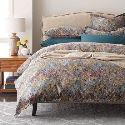 The Iona Duvet Cover Is A Tribute To Art Nouveau Design Showcasing Intricate Paisley Diamonds In Warm Y Tones